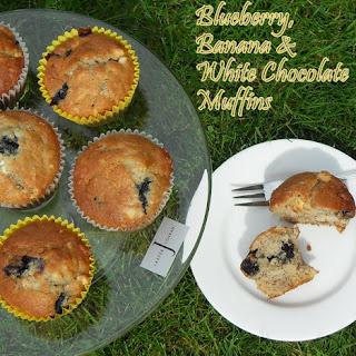 Blueberry, Banana and White Chocolate Muffins