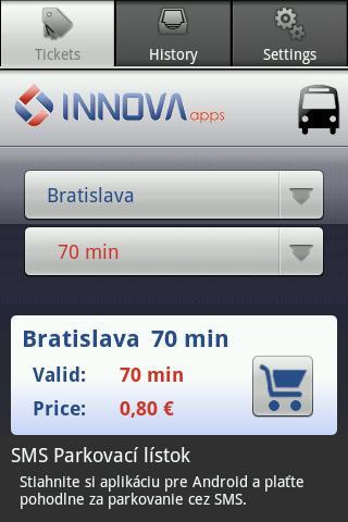 SMS Cestovný lístok- screenshot