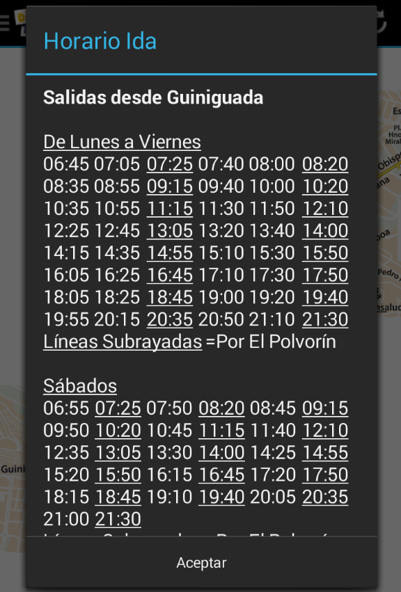 Schedule Guaguas(Buses) LPGC- screenshot