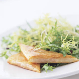 Goat Cheese and Red Pepper Phyllo Triangles with Olive Frisée Salad.