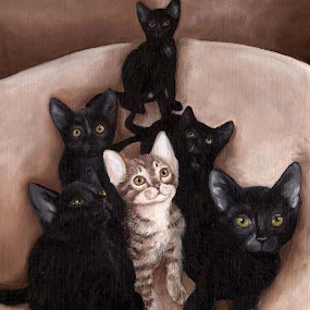 Kittens by Veronica Blazewicz - Painting All Painting ( cats, cat, animals, art, pets, kittens, oil painting, painting, domestic, artwork, animal )