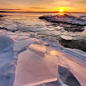Brighton Beach ice by Ben Podolak - Landscapes Sunsets & Sunrises ( brighton beach, ice, lake superior, sunrise, duluth mn )