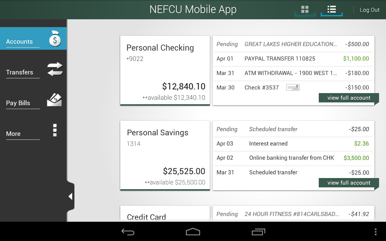NEFCU Mobile App - screenshot