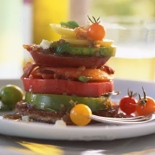 Heirloom Tomatoes with Bacon, Blue Cheese, and Basil.