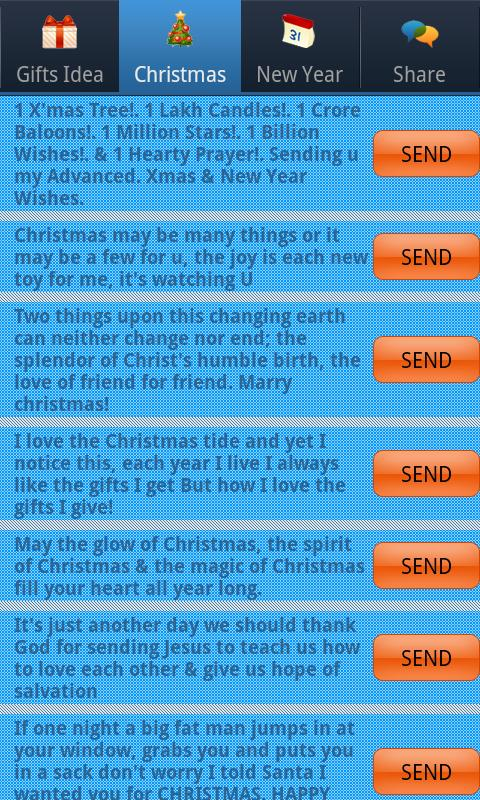 Christmas & New Year SMS Lite - screenshot
