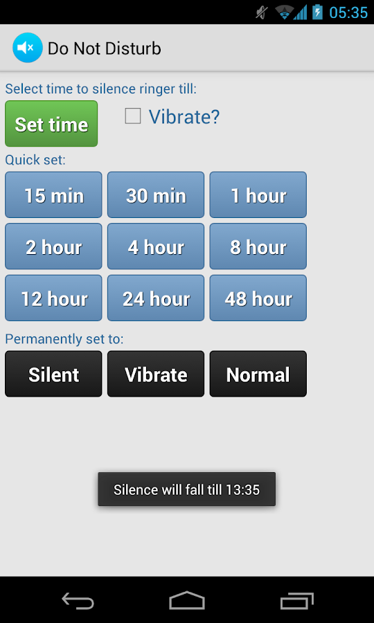 Do Not Disturb Ringer Silencer - screenshot