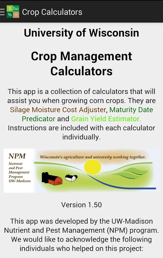 Crop Calculators - screenshot