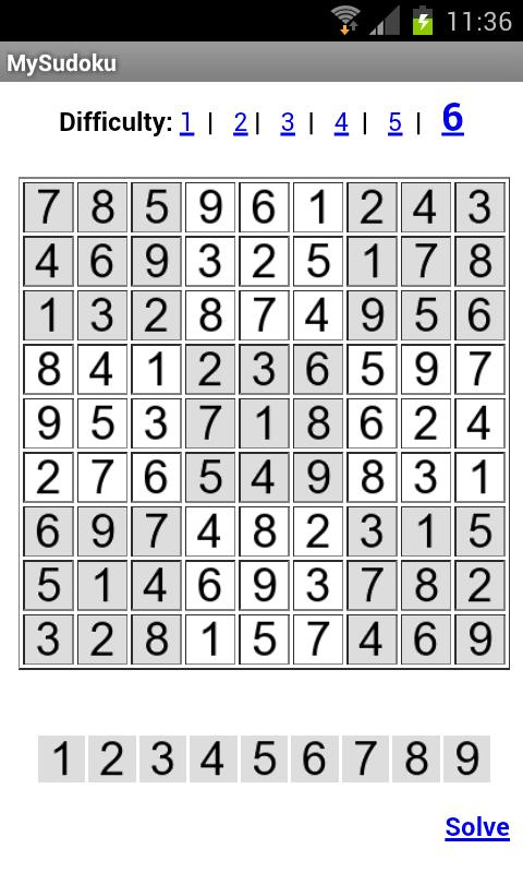 MySudoku - screenshot