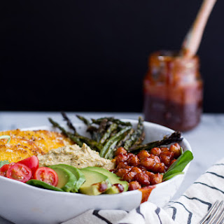 BBQ Chickpea and Crispy Polenta Bowls with Asparagus + Ranch Hummus.
