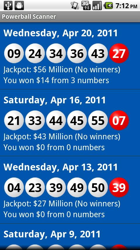 Powerball Scanner Lite - screenshot