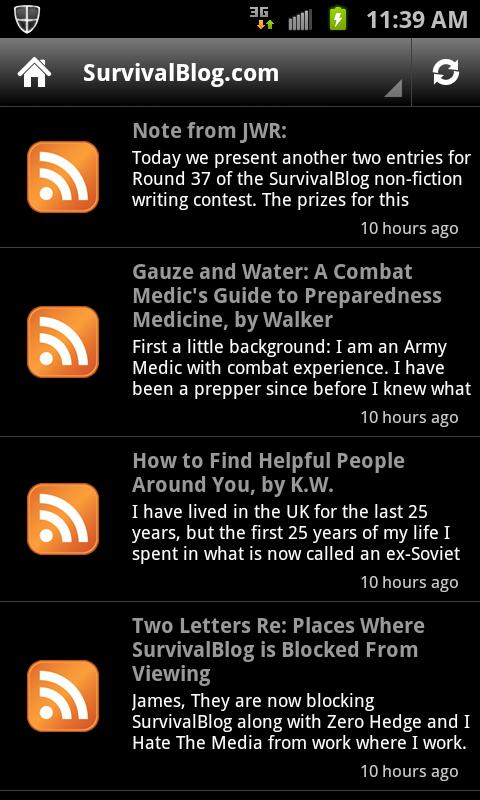 SurvivalBlog.com Reader - screenshot