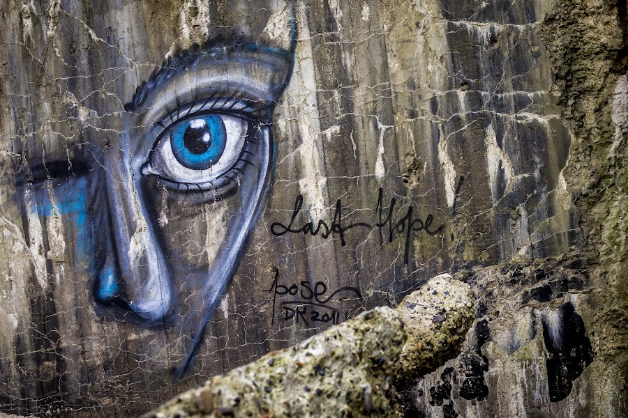 The Last Hope! by Morten Rasmussen - City,  Street & Park  Street Scenes ( bunker, blue, graffiti, last hope, eye )