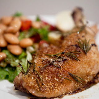 Dukkah and Rosemary Roasted Chicken with Strawberry, Butter Bean and Balsamic Salad