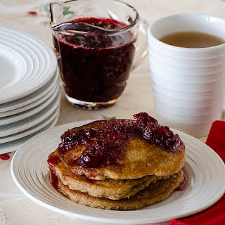 Apple Pancakes with Cranberry Syrup.