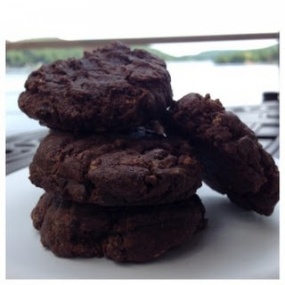 Almond and Double Chocolate Soft and Chewy Cookies.