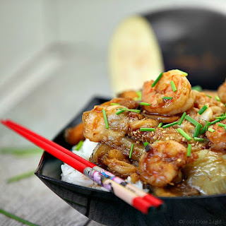 Chinese Steamed Eggplant with Shrimp Stir Fry.