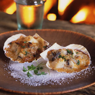 Scallops with Mushrooms in White-Wine Sauce.