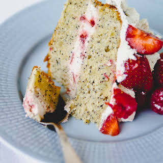 Lemon and Poppy Seed Cake with Strawberry Cream.