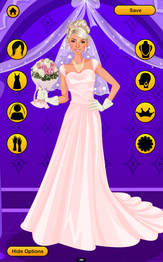 Wedding dress up games free bridal look makeover for Dress up games wedding