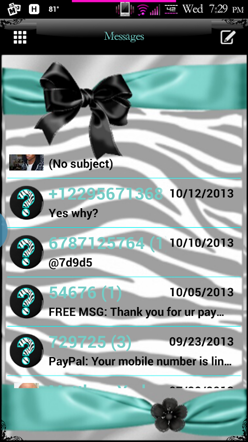 Zebra Devine GO SMS Pro Theme - screenshot