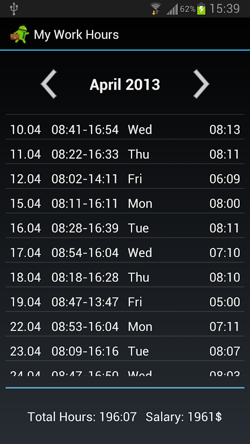 My Work Hours - screenshot