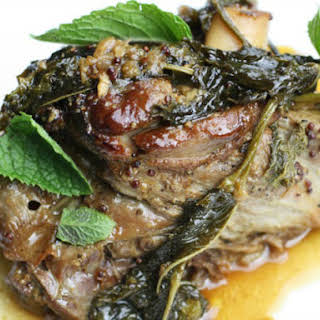 Fall-Apart Lamb Shanks Braised with Mustard and Mint.