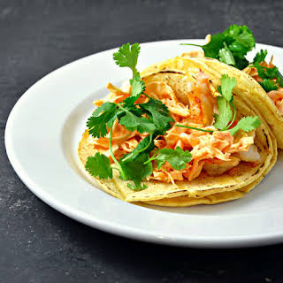 Shrimp Tacos with Spicy Sriracha Slaw.