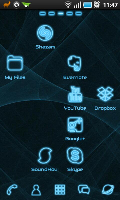Blue Light GO Launcher Theme - screenshot