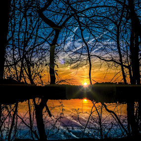 Last Spark of Day by RomanDA Photography - Landscapes Sunsets & Sunrises ( water, reflection, sunset, trees )