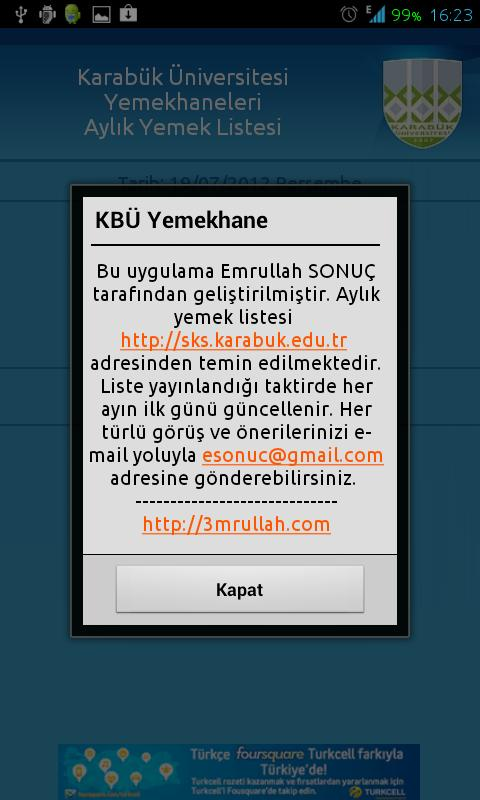 KBÜ Yemekhane- screenshot