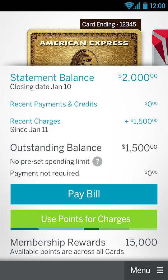 Amex Mobile - screenshot