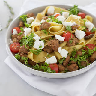 Pappardelle Pasta with Sausage and Goat Cheese.