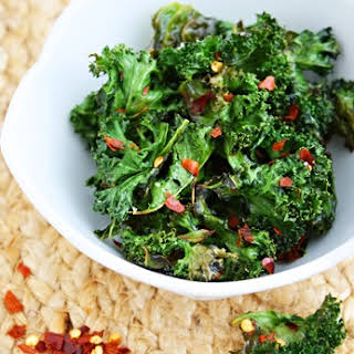 Spicy Baked Kale Chips.