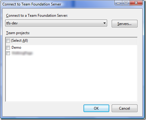 Connect to Team Foundation Server Dialog - Multi-Project Select - Initialized