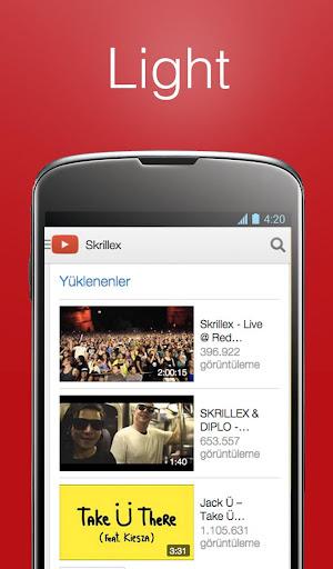 精简版的应用程序的Youtube