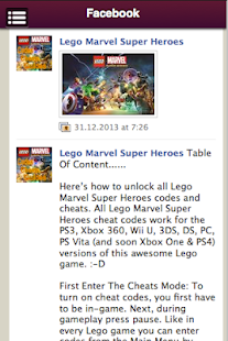 Lego Marvel SuperHeroes Cheats | FREE Android App Market