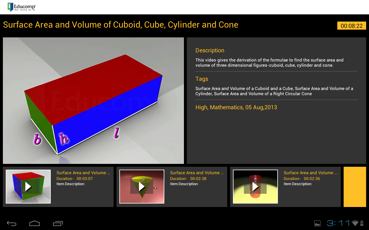 Surface Area, Volume Of Cuboid Screenshot