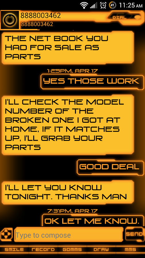 Legacy Evil Go SMS Pro Theme - screenshot