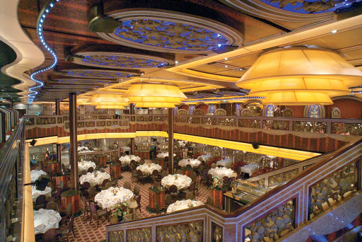 Carnival-Freedom-Posh-dining-hall-2 - Celebrate your first day at sea at the Posh dining hall, one of Carnival Freedom's two main dining halls.