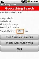 Screenshot of Geocaching Search