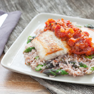 Pan-Seared Drum and Tomato Jam with Himalayan Red Rice Risotto & Asparagus.