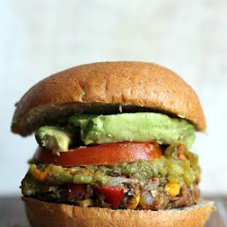 New Mexican Green Chile Black Bean Burgers.
