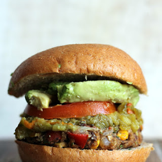 New Mexican Green Chile Black Bean Burgers.