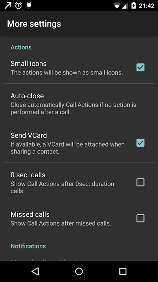 Call Actions- screenshot
