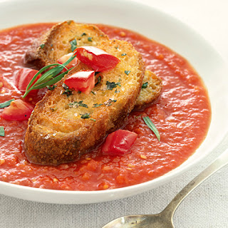 Chilled Tomato-Tarragon Soup with Croutons