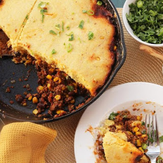 Quick and Easy Skillet Tamale Pie With Brown Butter Cornbread Crust.
