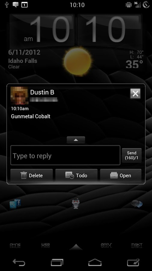 GO SMS Gunmetal Cobalt Theme - screenshot