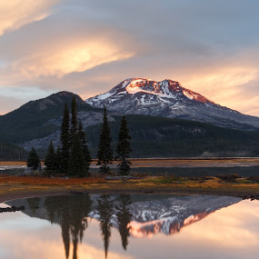 Sparks Lake Morning by Sandra Woods - Landscapes Mountains & Hills ( oregon, mountain, nature, autumn, south sister, sparks lake, central oregon, sunrise, usa, united states,  )