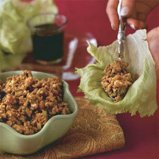 Crispy Ginger-and-Garlic Asian Turkey Lettuce Wraps.