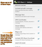 Screenshot of GPS Share